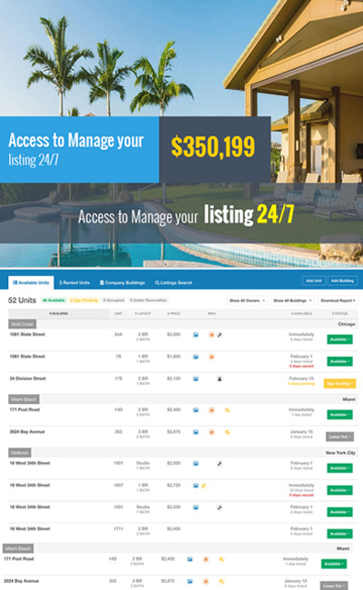 Access to Manage your listing 24/7